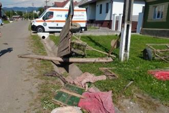 Şase copii răniţi după ce căruţa în care se aflau s-a răsturnat într-un şanţ