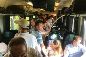 Trenul internațional București-Budapesta, supraaglomerat și fără aer condiționat. FOTO
