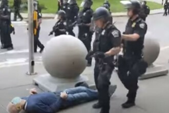VIDEO. Un nou caz șocant în SUA. Un bătrân cade și își sparge capul, după ce este bruscat de poliție