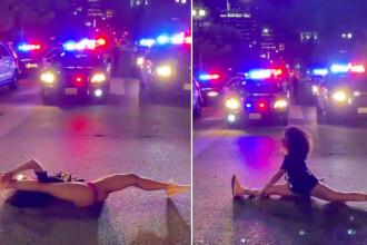 VIDEO. Protest inedit în SUA. O tânără a dansat provocator în fața polițiștilor