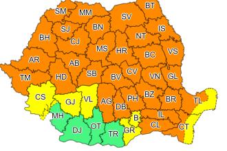 Cod portocaliu în cea mai mare parte a ţării, până luni dimineaţă. Ce se întâmplă apoi cu vremea