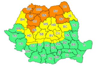 Cod portocaliu și galben de ploi torențiale, vijelii și grindină în centrul și nordul țării