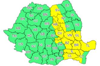 Cod galben de vreme instabilă în 15 judeţe. Informare de caniculă în sud şi sud-est