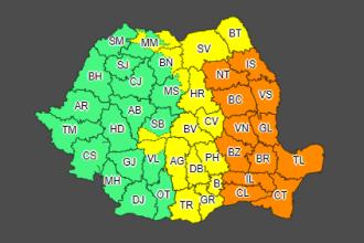 Cod portocaliu de ploi abundente în 12 județe. Cod galben în alte 16 judeţe şi în Capitală