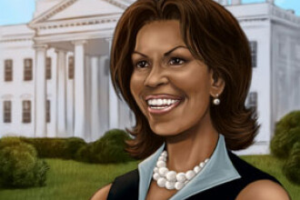 Michelle Obama, Hillary Clinton si Sarah Palin, in benzile desenate
