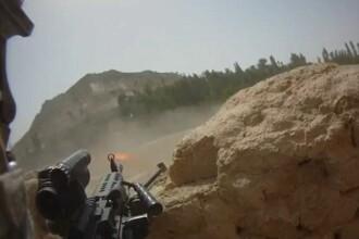 Scena de lupta din Afganistan filmata de un militar american in timp ce talibanii trageau in el