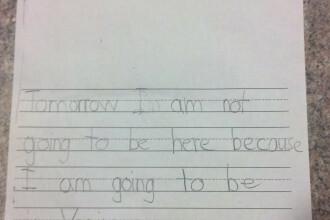 Scrisoarea unui elev de clasa I a facut-o pe profesoara sa roseasca. Cum si-a motivat absentele