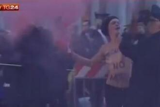 VIDEO. Doua activiste Femen au protestat in sanii goi la Vatican, in prima zi a Conclavului