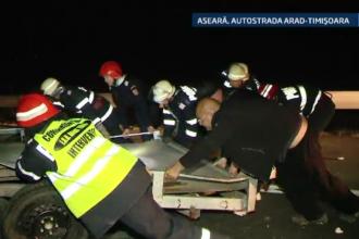 Accident grav pe autostrada Arad-Timisoara. Un barbat a fost prins la mijloc intre doua masini care s-au ciocnit