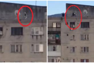 Atentie, imagini socante: Momentul in care judecatorul din Valcea sare de pe bloc, sub ochii a doi politisti