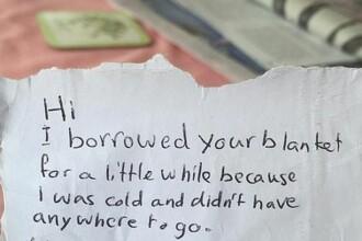 A spart o masina pentru a fura o patura, iar apoi s-a intors si a lasat un bilet. Ce a scris