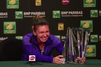 VIDEO. Moment amuzant dupa finala de la Indian Wells. Reactia Simonei Halep cand a incercat sa ridice trofeul