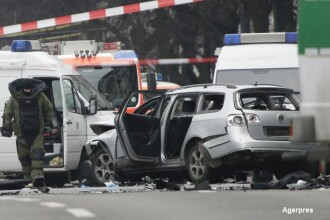 O masina a explodat in Berlin, dupa detonarea unui dispozitiv exploziv. Soferul a murit. FOTO si VIDEO