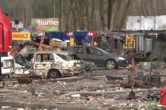 Piata din Polonia, devastata de un foc de artificii. Locul arata ca si cum ar fi avut loc un atentat