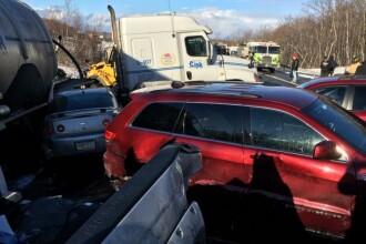 Accident cu 32 de masini pe o autostrada din SUA. O persoana a murit si zeci au fost ranite in carambol. VIDEO