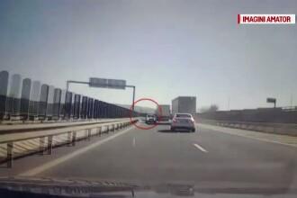 Soferul care a fost filmat mergand pe contrasens pe Autostrada Sibiu - Deva, identificat de Politie. Ce risca barbatul