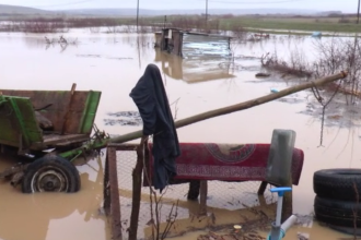 Cod portocaliu de inundații în Satu Mare. Mai multe gospodării și un drum european, afectate