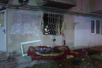 Explozie puternică, urmată de incendiu, într-un bloc din Tg. Jiu. Tânără de 24 de ani, rănită