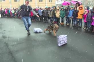 Zarvă mare în curtea unei şcoli din Târgu Jiu. Elevii au fost fascinaţi de tehnică de intervenţie a agenţilor