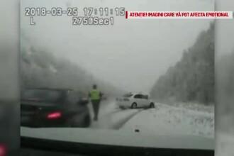 Un polițist care legitima un șofer tras pe dreapta, lovit în plin de o mașină care a derapat