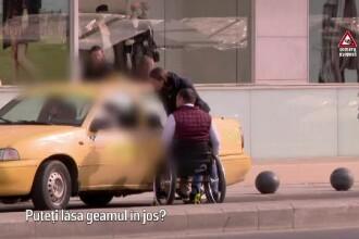 Experiment Știrile PRO TV. Cum e tratat un bărbat în scaun cu rotile de taximetriști