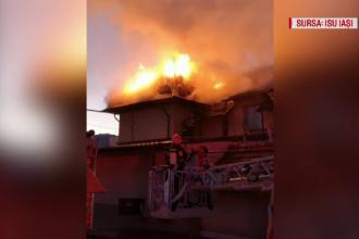 O clădire în care locuiesc 8 familii, cuprinsă de incendiu, la Iași. Imagini din dronă