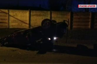Un șofer băut s-a răsturnat cu maşina în timp ce era urmărit de poliţie, în Caracal