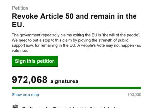 Peste 970.000 de oameni îi cer Theresei May să oprească Brexitul