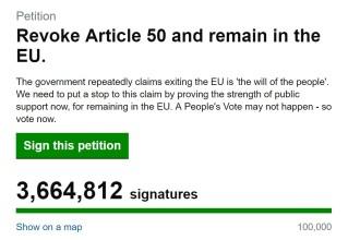 Petiţia pentru anularea Brexitului a strâns peste 3 milioane de semnături
