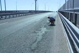 Cea mai nouă autostradă din țară, plină de gropi. Cum și-a spart o șoferiță parbrizul