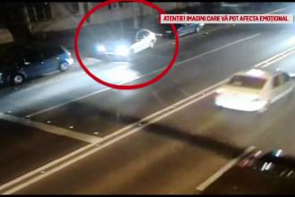 Momentul în care o mașină se răstoarnă, în Timișoara. Greșeala comisă de șofer