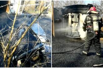 Scene de groază în Arad. Șofer ars de bitumul fierbinte căzut dintr-un camion răsturnat