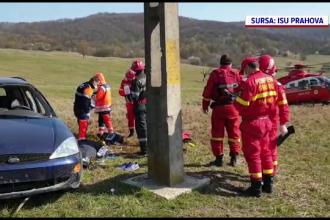 S-a răsturnat cu mașina pe câmp, după ce a lovit un stâlp, beat și fără permis