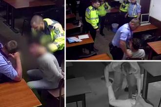 Polițiști filmați în Secția 16 când bat violent un bărbat încătușat, în 2018. Cine sunt trei dintre ei