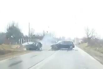 Accident violent pe DN71, din cauza unui bărbat care a intrat pe contrasens