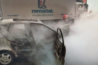 Un polițist din Roman a salvat două persoane blocate într-o mașină în flăcări. La scurt timp, autoturismul a explodat