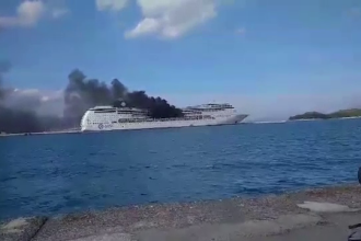 Incendiu de amploare la bordul unei nave de croazieră din portul Corfu, Grecia. Ce s-a întâmplat cu pasagerii