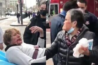 VIDEO. O femeie de 76 de ani, atacată pe stradă, l-a surprins pe agresor. Tânărul, dus la spital cu fața plină de sânge