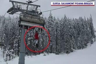 La un pas de o tragedie în Poiana Brașov. Un schior a rămas agățat de telescaun