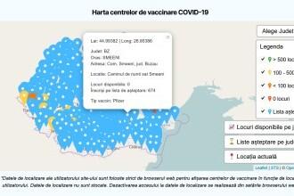 Hartă interactivă a centrelor de vaccinare, pe tipuri de vaccin, în platforma de programare