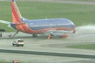 Cauciucul unui avion a luat foc la aterizare! Pasagerii, evacuati!