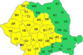 Jumatate de Romania sub cod galben de furtuni si grindina, astazi si maine