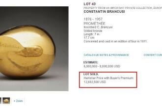 12.682.000 de dolari pentru Prometeul lui Brancusi intr-o licitatie ce a stabilit si un record la NY