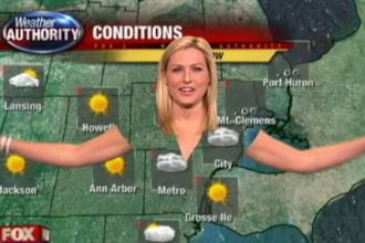 Hainele unei prezentatoare meteo au disparut, in direct. VIDEO