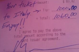 FOTO. Bacsisul incredibil primit de o chelnerita.