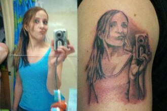 Fenomenul selfie si dovada ca lumea o ia razna. O tanara si-a tatuat pe corp propria imagine in oglinda