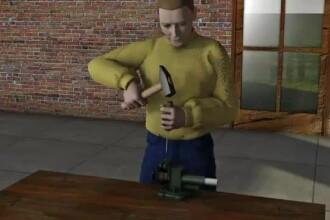 ANIMATIE GRAFICA: a gasit un glont pe camp, l-a pus intr-o menghina si l-a lovit cu ciocanul. Ce a patit un roman