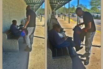 Pentru a doua oara, un om al strazii a predat politiei un portofel cu bani. Reactia sa dupa ce americanii au vrut sa-l ajute