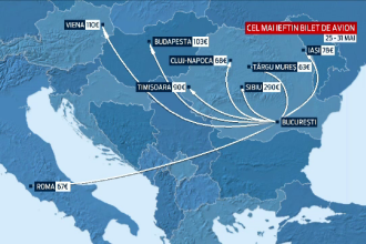 TAROM te duce de la Bucuresti la Sibiu prin Viena cu 800 de euro. Raspunsul TAROM: nu cursele sunt scumpe, taxele sunt mari