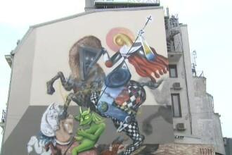 Graffitiul care trebuia sa infrumuseteze Bucurestiul i-a revoltat pe credinciosii din zona. Cum a fost desenat Sf. Gheorghe